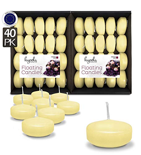 Hyoola Premium Ivory Floating Candles 2 Inch - 4 Hour - 40 Pack - European Made (2 Ivory)