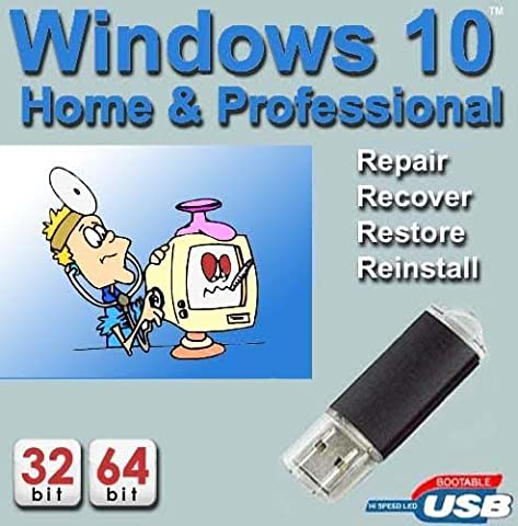 Windows 10 Home & Professional 32-64 Bit Install   Boot   Recovery   Restore USB Flash Drive Disk Perfect for Install or Reinstall of Windows
