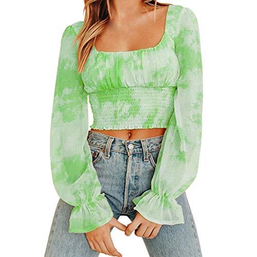 BNIsBM Women's Blouse Shoulder Loose Fit Crop Long Gradient Sleeve Dye Gradient Frill Smocked Casual Tunic Tops (Green,XL)