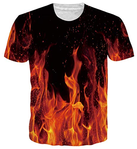 (Goodstoworld Mens Short Sleeve T-Shirts Fire Flame Red Unisex 3D Graphic Tee Shirts Shorts Novelty Pattern Print Hawaiian Rave Cruise T-Shirts Polo Shirts XX-Large)