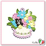 (US) Crochet basket potholder with colorful flowers and bear - Size: 7 inch x 7.4 inch H - Handmade - ITALY