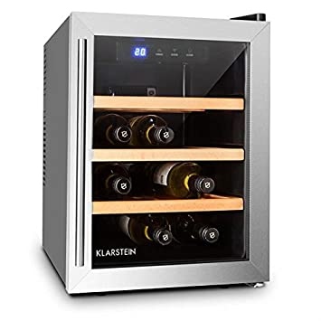 Klarstein Reserva 12 Uno • Cave à vins • Cave à vin réfrigérante • Capacité de 33 litres • 9 bouteilles • 3 étagères amovibles • Éclairage LED • Température r