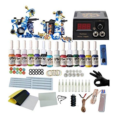Professional Complete Tattoo Kits Tattooing Machine Gun Kits 14 Colors Tattoo Inks Set Power Supply LCD Digital Tatuaje from YZLFJ