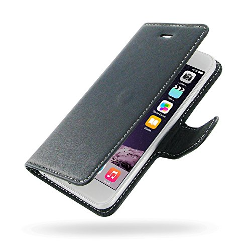 "Apple iPhone 6 (4.7"") Deluxe Leather Case / Cover Protective Carrying Phone Case (Handmade Genuine Leather) - Book Case (Black) by Pdair"