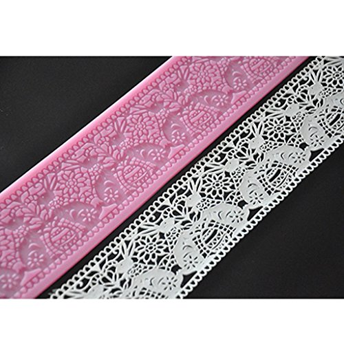 FOUR-C Baking Tools Embossing Silicone Mat Lace Cake Mold for Decoration Color Pink