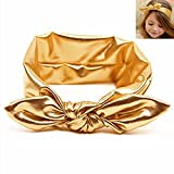 Children Metallic Messy Big Bow baby Girls Elasticity Headband Kids Infant Cloth Turban Knot Hairband Wrap Gold Headwrap Review