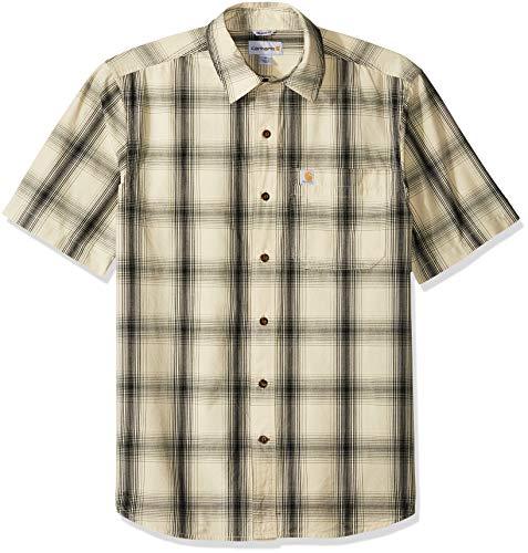 Carhartt Men's Essential Plaid Open Collar Short Sleeve Shirt, 121-Oyster White, Large