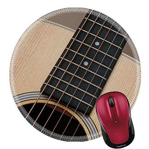 Liili Round Mouse Pad Natural Rubber Mousepad IMAGE ID 32770462 Beautiful close up abstract picture of a classical acoustic guitar with soft light brown beige natural wood grain ebony fretboard - Ebony Round And Brown