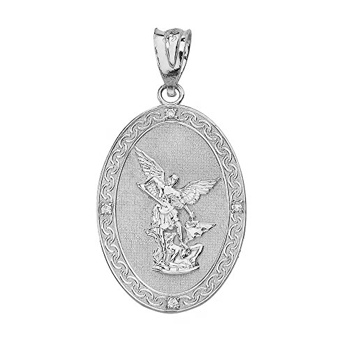 Gemstone Medallion Style Pendant - 925 Sterling Silver Saint Michael The Archangel CZ Oval Medallion Pendant (1.19