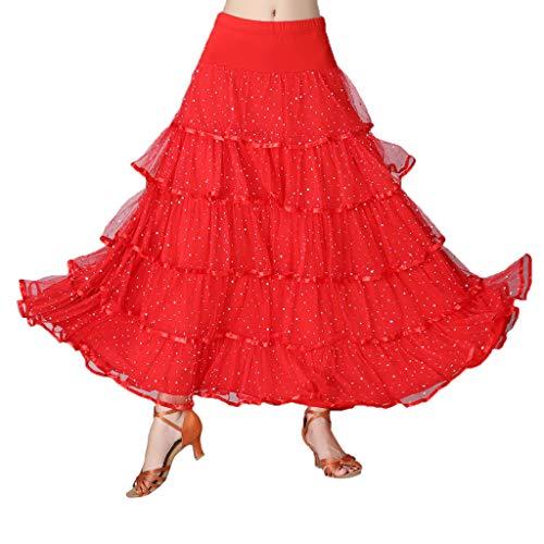 Danza Vientre Cóctel Cinturilla Lentejuelas Con F Volante De Rojo Elástica Fityle Falda Latino Baile Para pZB8v