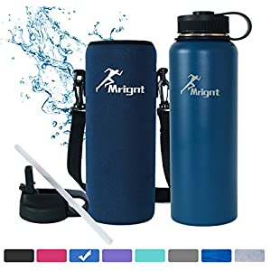 Stainless Steel Vacuum Insulated 40/32 OZ Sports Water Bottle|Best Water Bottle for Men&Women|BUY ONE GET THREE FREE GIFTS-A Straw Lid& A Bottle Pouch & A Bottle Brush-Blue 40