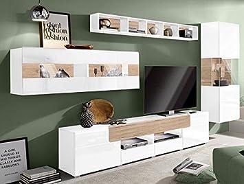 Amazon.de: Generic WOHNWAND 4-tlg Wohnzimmer Weiß Hochglanz Eiche ...