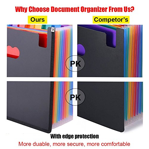 Expanding File Folder 24 Pockets Multi-Color Accordion Files Box A4 Document Organizer with Expandable Wallet Stand – Works on Legal Size and Letter Size by Huztl Photo #4