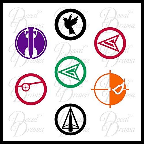 Team Green Arrow emblems SET DC Comics Vinyl Decal (Arrow Green Helena)