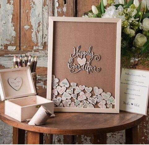 (Guestbook MarthaFox Wedding Guest Book,Personalized Frame,Rustic Alternative Drop Top Box,Custom Wood Heart Signature Book,Wedding Decor N550438)