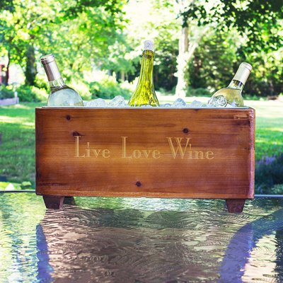 Personalized Wooden Wine Trough with LOVE Mini Favor Frame