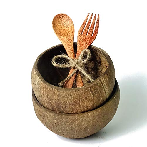 Coconut Bowl and Wooden Spoon Fork   Handmade Buddha Bowl from Reclaimed Coco Shells   100% Natural Palm Wood Serving Smoothie Bowls   Vegan Gift Set   Biodegradable Organic Compostable Eco Friendly