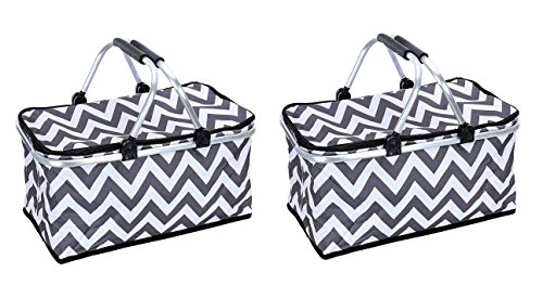 Cheap Sprucebay Insulated Picnic Baskets - Set of 2 - Strong Aluminum Frame - Collapsible Design for...