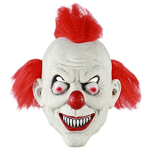 (MICG Halloween Scary Killer Clown Mask Red Hair Horror Demon Joker Cosplay Party Costume Mask (Killer)
