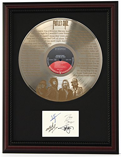 Motley Crue Home Sweet Home Cherrywood Framed Gold Lp Reproduction Signature Display C3