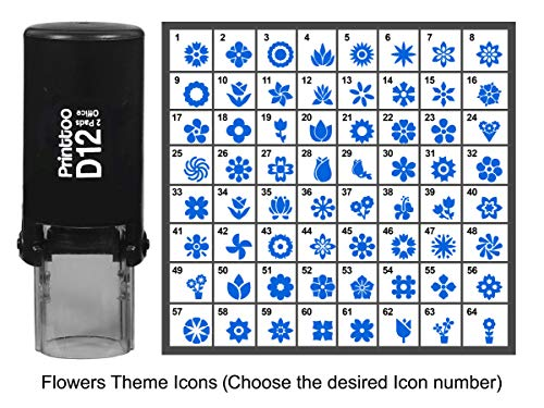 Printtoo Personalized Flowers Theme Icons Rubber Stamp Self Inking Stamper 12 mm-Blue