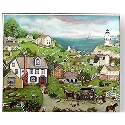 Ceaco Linda Stock Nelson Peddler's Cove Jigsaw Puzzle with Poster Tower Box 550 Pieces: Toys & Games