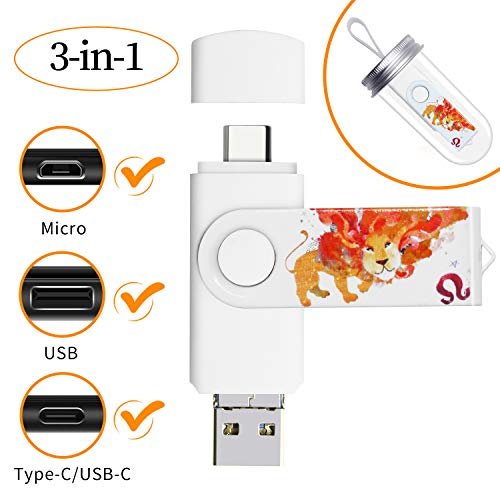 Avomoco 3.1 128GB 3 in 1 High Speed Flash Drive for Android Phones Type C Tablets Devices, Photo Stick for Samsung Galaxy,LG,Google Pixel,Hua Wei.(for Micro &USB C Ports)