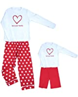 White and Red Sweetheart Love Your Family Clothing Set; Choose Adult or Kids