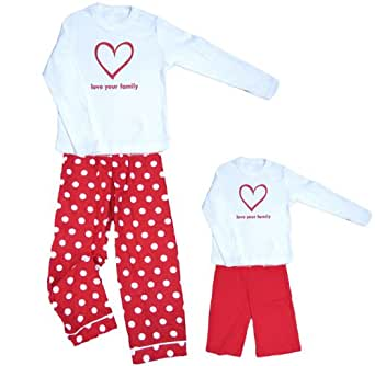 Sweetheart LYF Heart White Shirt Pant Pajamas Set - Adult X-Large, L/S, RDOT Pants (122)