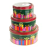 Homeford Christmas Cookie Tin Round Containers with Santa/Gift Box, 3 Size, Multi-Color