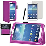 """MOFRED® Purple Samsung Galaxy Tab 3 8"""" Case-MOFRED® Retail Packed Executive Multi Function Standby Case For Samsung Galaxy Tab 3 8.0 -8 inch Tablet + Screen Protector + Stylus Pen"""