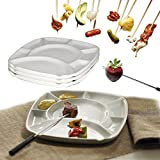 Trudeau Fondue Plates Set White Ceramic Square 8-Section Serving Dishes, 4 Pack