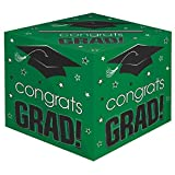 "School Colors Graduation Party ""Congrats Grad!"" Card Box Holder, Green and Black, Paper, 12"" x 12"" x 12"""
