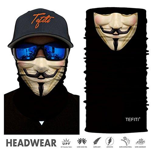 TEFITI Stretchable Face Shield Motorcycle Mask Balaclava Sun Mask Guard (Funny Face Mask)