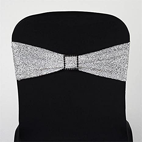 Silver Shimmer Sparkle Spandex Banqueting Chair Cover Wedding Chair Venue Decor