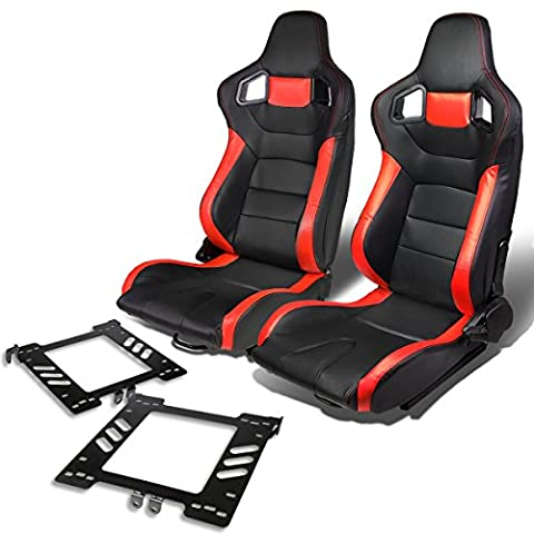 Pair of RS-023-BK-RD PVC Leather Reclinable Racing Seat+Bracket for VW Golf/Jetta/Beatle (Backwards Beatles)