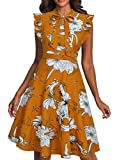 Womens Ruffle Sleeveless Bow Tie Neck Floral Fit Flare Work Dresses Orange