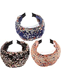 Pack of 3 Wide Fashion Headbands Lace Flower Cloth Headband for Women Girls