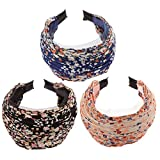 MonkeyJack Pack of 3 Wide Fashion Headbands Lace Flower Cloth Headband for Women Girls
