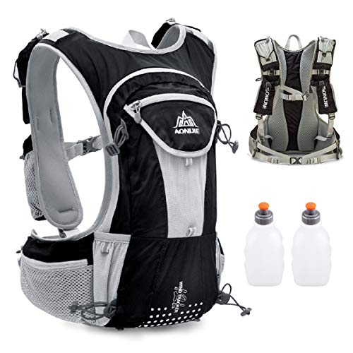 fecc470181 TRIWONDER Hydration Pack Backpack 12L Professional Outdoors Mochilas Trail  Marathoner Running Race Hydration Vest (Black- with 2 Water Bottles)