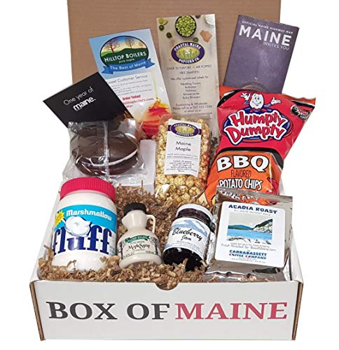Box of Maine - 7-item Gift Pack - Whoopie Pie, Fluff, Coastal Maine Maple Popcorn, Maine Maple Syrup, Humpty Dumpty BBQ Chips, Carrabassett Coffee, Maine Blueberry Jam