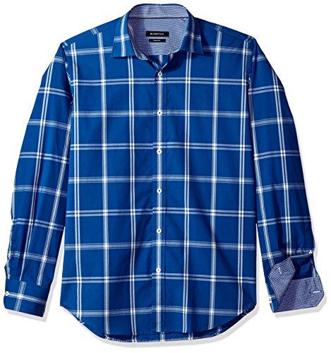 - Bugatchi Men's Large Windowpanes Check Trim Fit Long Sleeve Woven Shirt, Navy, L