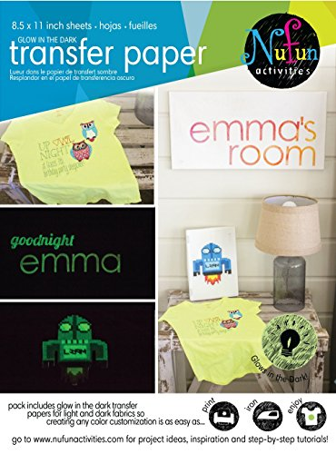 NuFun Activities Inkjet Printable Iron-on Glow in the Dark Heat Transfer Paper Combo for Light and Dark Fabrics, 8.5 x 11 inch sheets (Free Printable Iron On Transfers)