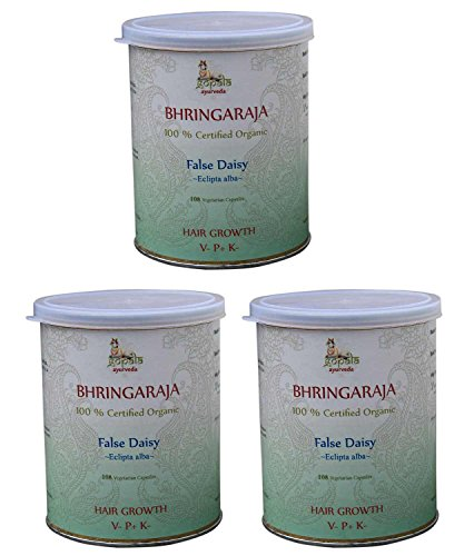 BHRINGRAJ CAPSULES (USDA CERTIFIED ORGANIC) - 108 Vcaps (Pack of 3) - With Free Gift Samples and Expedited Delivery (Best Ayurvedic Medicine For Grey Hair)