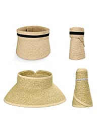 Bundle Monster BMC 2pc Roll up Collapsible Wide Brim Visor Style Straw Hats