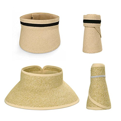 BMC 2pc Roll Up Collapsible Wide Brim and Visor Style Straw Hats: Wicker + Beige