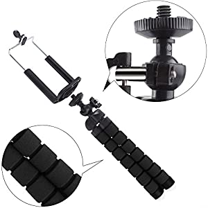 Tripod for iPhone Adjustable Tripod Mount for Cell Phone and Digital Camera,Flexible Octopus Tripod Holder with Bluetooth Remote Shutter( Black )