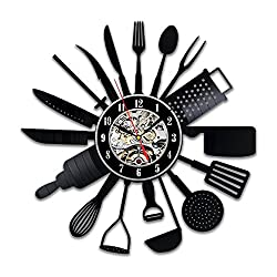 Shinestore Cutlery Kitchen Utensil Wall Clock Spoon Fork Clock Vinyl Decorative Vinyl Record Wall Clock 12inch(30cm)