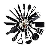 Shinestore Cutlery Kitchen Utensil Wall Clock Spoon Fork Clock Vinyl Decorative Vinyl Record Wall Clock 12inch(30cm) Review