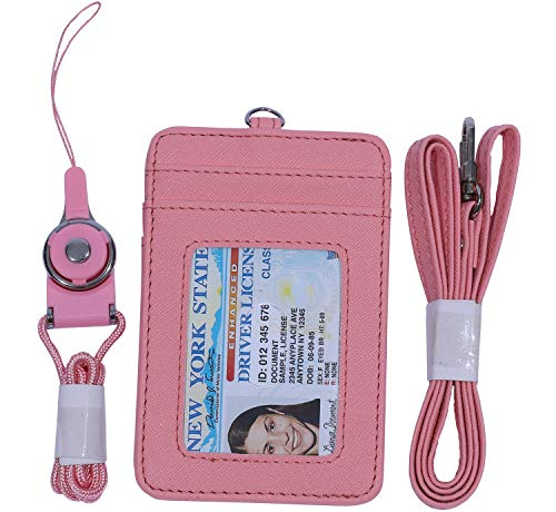 Slim Credit Card Holder Wallet Mens Women Leather Id Card Case Neck Wallet Pouch (Pink)